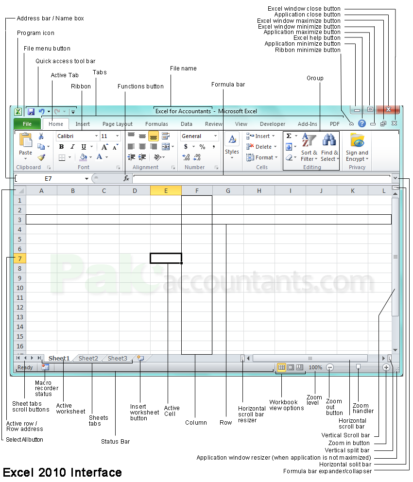 excel interface right size