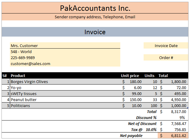 FREE Excel Invoice Template V With Customer And Product List - Free customer invoice