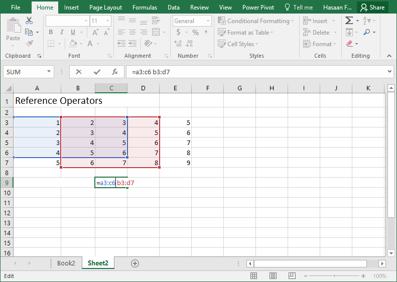 excel intersection operator
