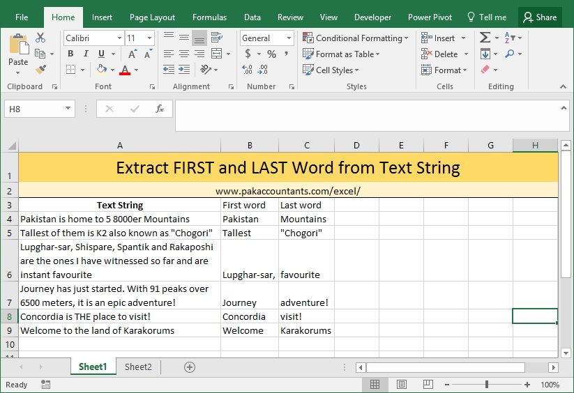 extract first last word excel formula 2
