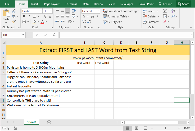 Extract First and Last word from text string using Excel