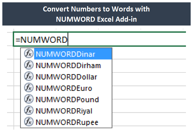 convert numbers to words  text in excel without pasting
