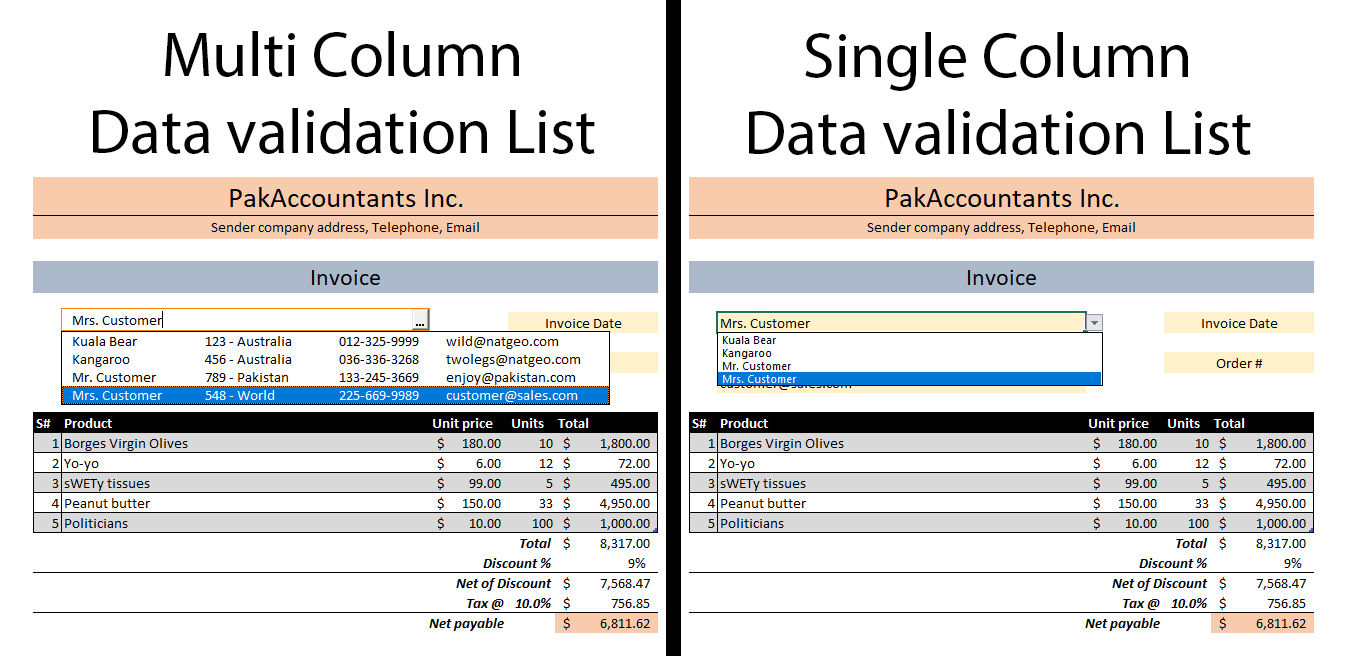 Multiple Column Data Validation Lists in Excel - How To